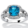 1.97 TCW Blue CZ Halo Ring Platinum over .925 Sterling Silver