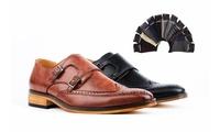 Gino Vitale Men's Monk Strap Brogue Dress Shoes w/Pair of Socks Deals
