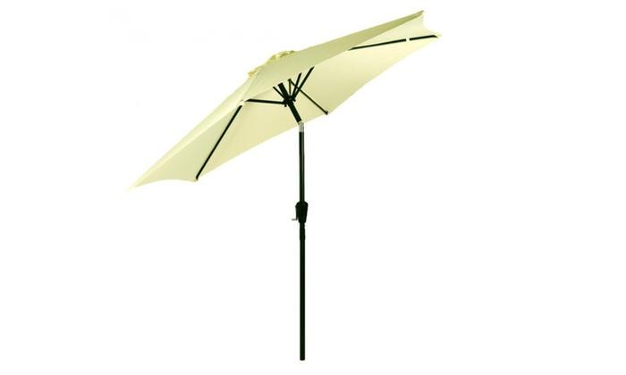 Beige Patio Umbrella 8u0027 Aluminum Outdoor Market Umbrella
