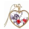 Dried Pressed Flower Locket Heart Pendant Necklace