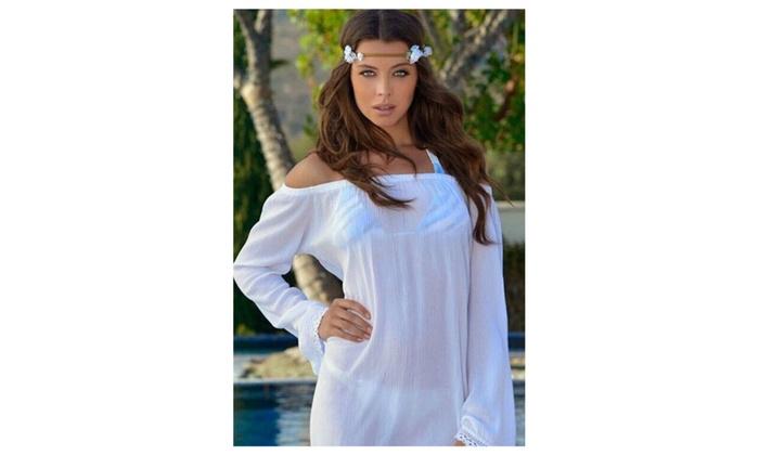 Women Short Loose Sleevess Lace Beachwear Shirt Blouse UWB819