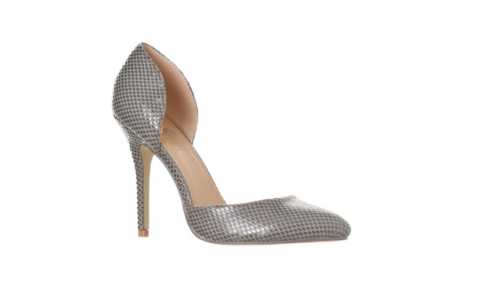 Riverberry 'Nora' Pointed Toe D'Orsay Pump Heels, Grey Snake