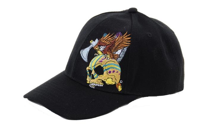 Black Tribal Skull with Eagle Embroidered Adjustable Baseball Hat