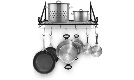 3-Types Wall Mounted Pots and Pans Rack With 10 Hooks