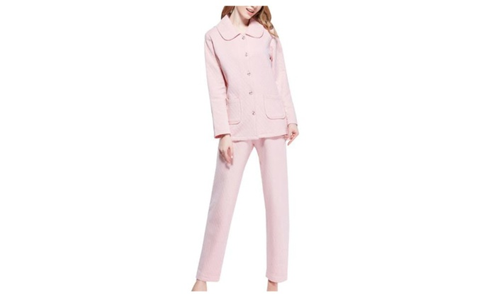 Women's Ladies Long Sleeve Fashion Buttons Up Solid Pajamas Set