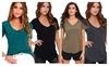 Hellochic: Hellochic Women's Sexy V-neck Summer Basic Pocket Fashion T-shirt