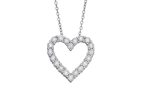 1/4 Cttw Diamond Heart Pendant In Sterling Silver Fashion Jewelry for Women