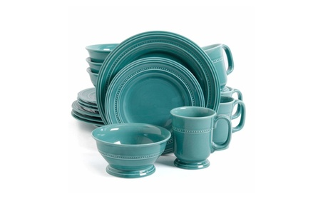 Gibson Elite Barberware 16 Piece Dinnerware Set, Turquoise photo