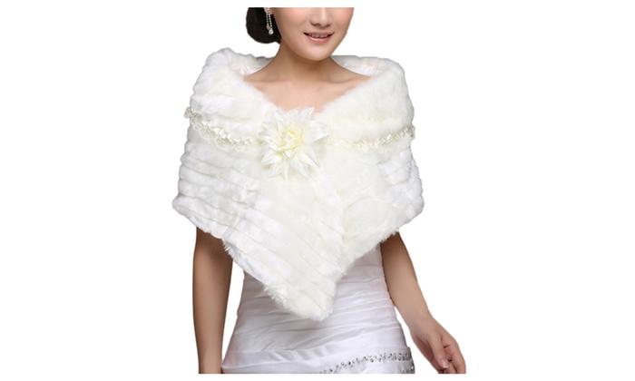 DPN Women's Winter Warm Faux Fur Bridal Wedding Shawl - White