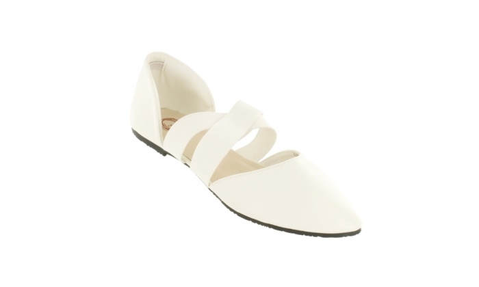 Red Circle Women's Jamaica Pointy Flat With Cross Elastic Strap