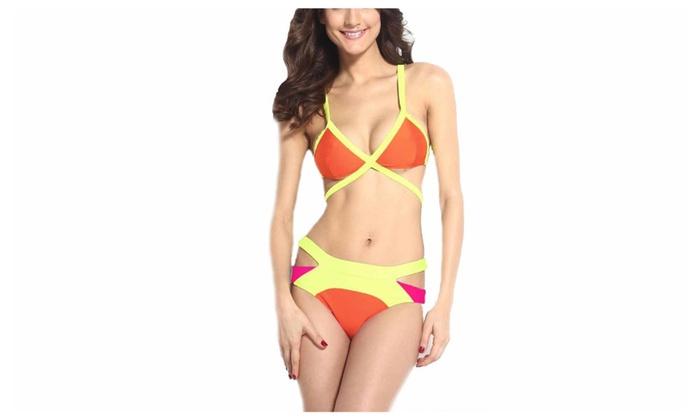 Women's Bright Bandage Bikini Set
