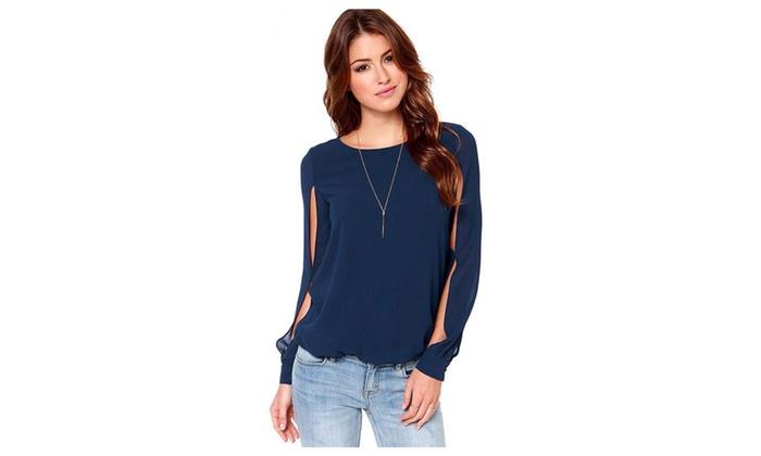 Women Long Sleeves Round Neck Shirt & Blouse – KMWSB754-KMWSB729