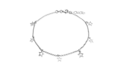 Bling Jewelry 925 Silver Star Ankle Bracelet Patriotic Jewelry Anklet