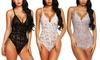 Lace Babydoll Halter Dress V-Neck Lingerie Sexy One Piece Bodysuit Sleepwear