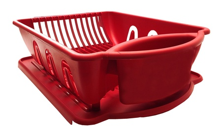 Red Sterilite 2Piece Sink Set Dish Rack Kitchen Perimeter Cup Holder 40db84aa-c796-43af-808f-606d32bf7b1e