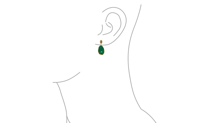 73c37bebe Dyed Green Onyx Smoky Quartz Briolette Gold Plated Silver Stud Drop Earrings