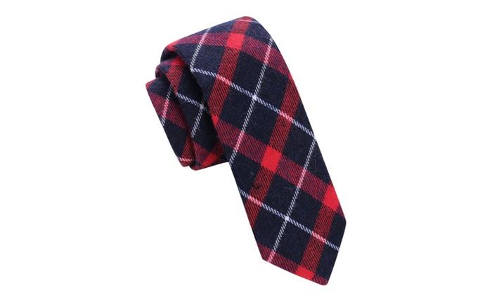 Skinny Tie Madness Men's Love Buzz Red Plaid Skinny tie