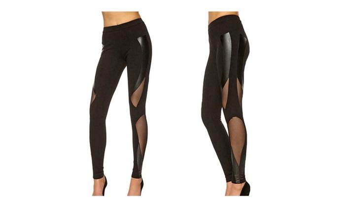 Women's Fashion Top Mesh Low Waist Long Leggings Pants