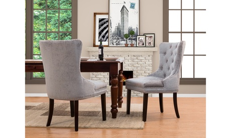 Victoria Button Tufted Velvet Dining Chair with Espresso Wood Legs (Set of 2)