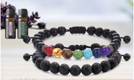 Lava Stone Chakra Bracelet Set (2-Piece) with Optional Essential Oils