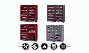 6 Tier 12 Lattices Non-woven Storage Closet Shoe Rack w/Dust-proof Cover