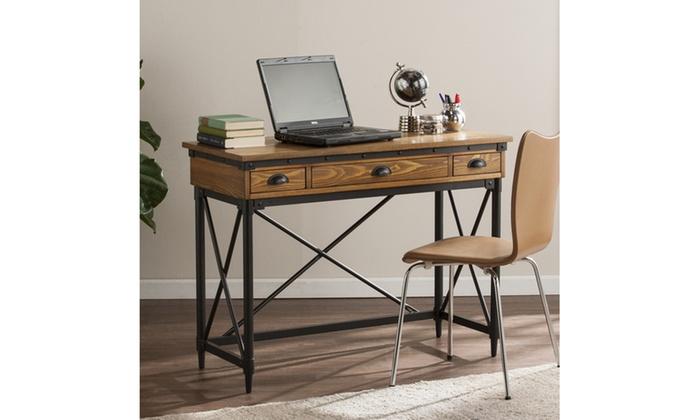 Beau ... Luther 2 Drawer Industrial Writing Desk W/ Keyboard Tray