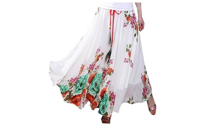 Bestal Chiffon Floral Pleated Midi Skirt Beach Long Dress Maxi Skirt Dresses