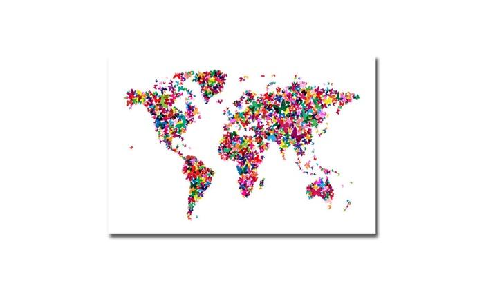 Michael tompsett butterflies world map ii canvas art groupon art michael tompsett butterflies world map ii canvas gumiabroncs Images