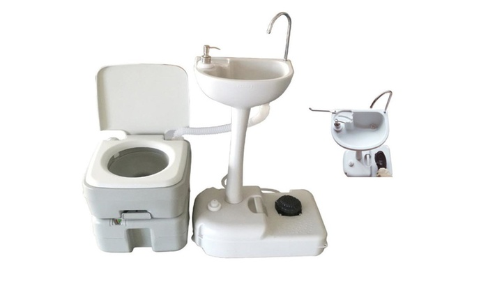 Portable Camping Toilet : 20l portable toilet flush camping toilet potty and wash basin sink