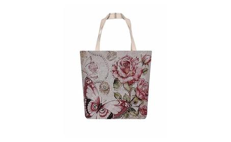 Butterflies & Roses Large Canvas Shoulder Tote Bag Purse (Goods Women's Fashion Accessories Handbags Totes) photo