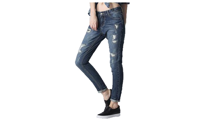 Women's Mid Rise Capri Simple Zipper European Style Jeans