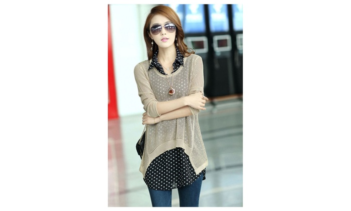 Women Chiffon Shirt with Knitted Top Upper Blouse Beige - KMSB760