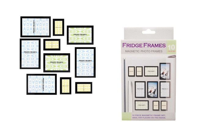 10 Pieces Stylish Black Fridge Magnetic Photo Frames Set | Groupon