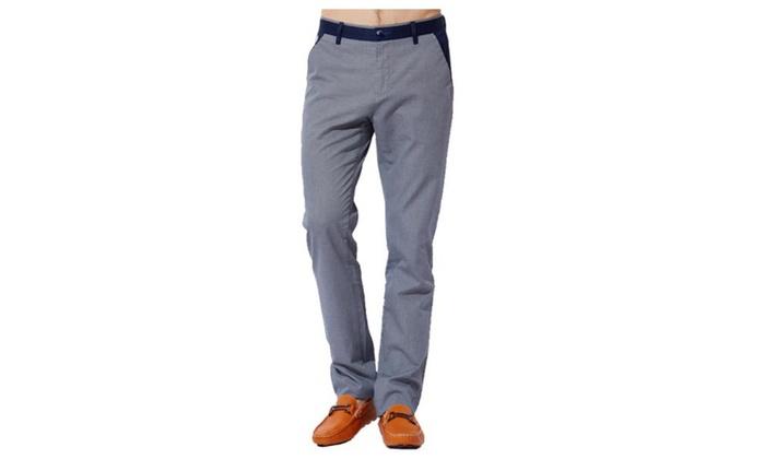 Men's Simple Casual Mid Rise Skinny Slim Fit Pants
