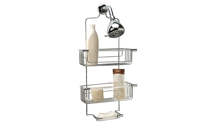 bath bliss shower caddy in chrome groupon. Black Bedroom Furniture Sets. Home Design Ideas