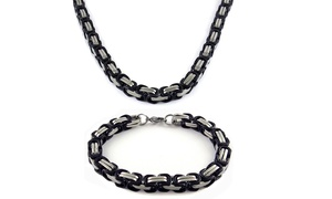 Men's Black Rhodium Plated 2 Tone Byzantine Necklace and Bracelet Set