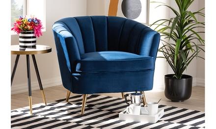 Emeline Velvet Fabric Brushed Gold Accent Chair