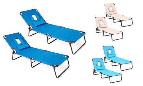 Backyard Pool Folding Chaise Lounge Chairs