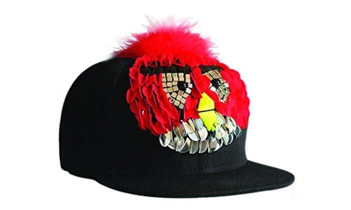Long Angry Birds Rivet Stud Brim Snapback Hat Adjustable Cap Red - Red / Adjustable