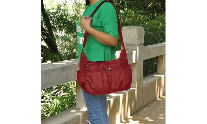 Women Nylon Pocket Big Lightweight Multi Capacity Handbags Shoulder Bag BE0D