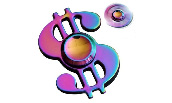 US Dollar Money Sign Hand Metal Fidget Spinner EDC Toy Rainbow Color