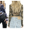 Women's Sexy Perspective Camo Long Sleeve Crop Tops Club T-Shirt Tees