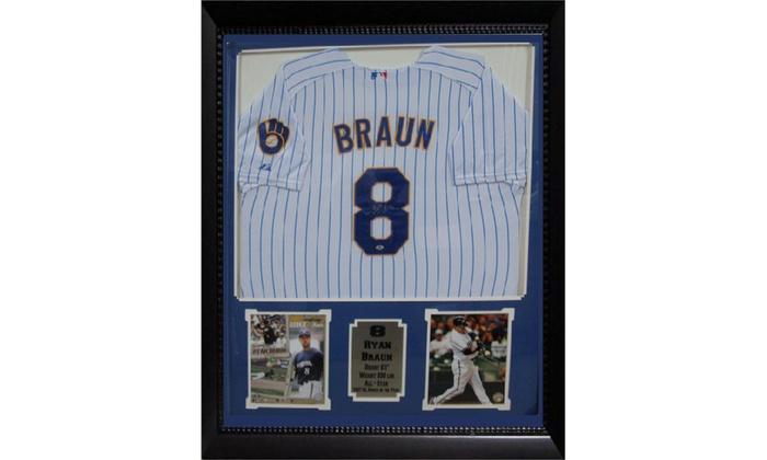 the latest 47f49 197b8 Ryan Braun Milwaukee Brewers Autographed Jersey Frame