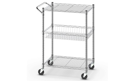Costway 3-Tier Utility Cart Heavy Duty Rolling Cart w/Handle Bar Storage Trolley