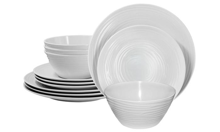 sc 1 st  Groupon & Parhoma White Melamine Home Dinnerware Set 12-Piece Service for 4 ...