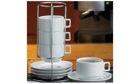 9-Piece Stackable Cappuccino White Porcelain Coffee and Tea Set fea17523-7263-460c-a22d-8445ee175e2e