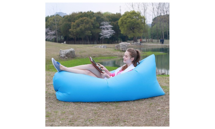 ... Blusmart Outdoor Inflatable Lounger Beach Couch Sofa Air Hangout Bed