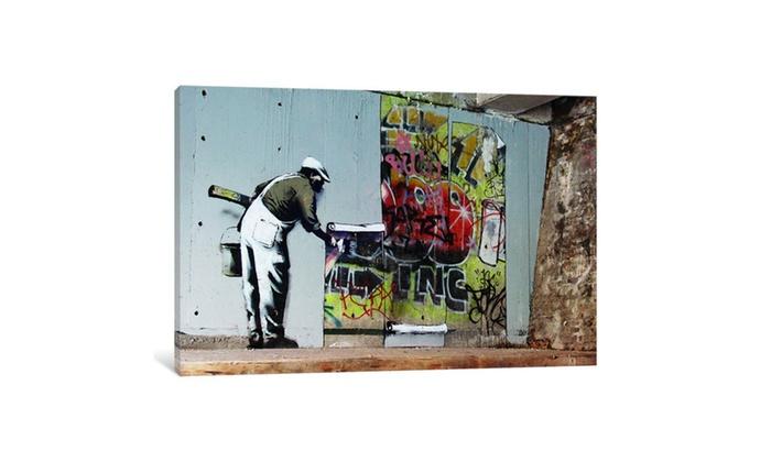Groupon Goods Graffiti Wallpaper Hanging By Banksy