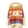 Women's O Neck Long Sleeve Deer Print Loose Knit Christmas Sweater
