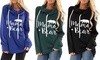 Women Autumn Street Long Sleeve Mama Bear Elbow Patch Hooded Fashion Tunic
